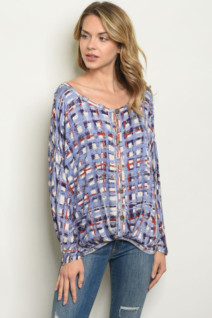 S21-8-4-T2549 BLUE CHECKERED TOP 2-2-2