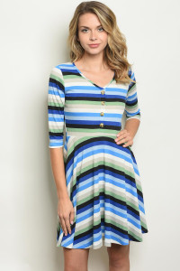 C72-A-1-D5640 IVORY BLUE STRIPES DRESS 2-2