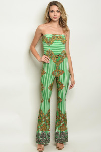 C74-A-2-J3333 GREEN STRIPES PRINT JUMPSUIT 2-2-2-1