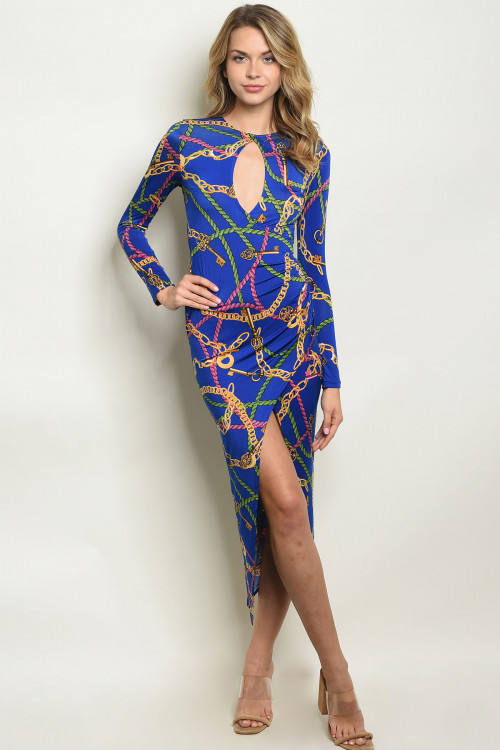 C82-A-4-D2443 ROYAL WITH CHAIN PRINT DRESS 2-2-2