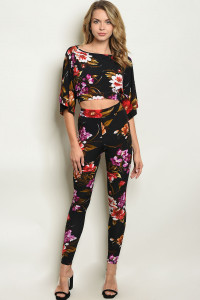 Z-B-SET5388 BLACK RED FLORAL TOP & PANTS SET 2-2-2