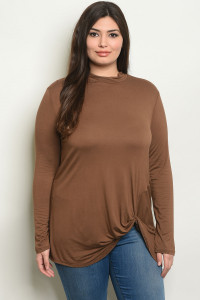 S22-10-5-T1048X BROWN PLUS SIZE TOP 2-2-2