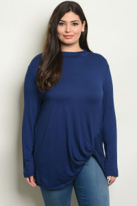 S22-10-6-T1048X NAVY PLUS SIZE TOP 2-2-2