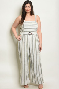 S21-1-1-J56057X IVORY OLIVE STRIPES PLUS SIZE JUMPSUIT 2-2-2-1