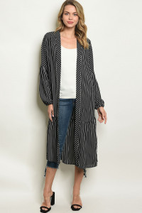 S25-2-4-C90805 BLACK STRIPES CARDIGAN 2-2-2