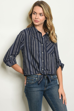 S17-7-2-T14034 NAVY STRIPES TOP 1-1-1