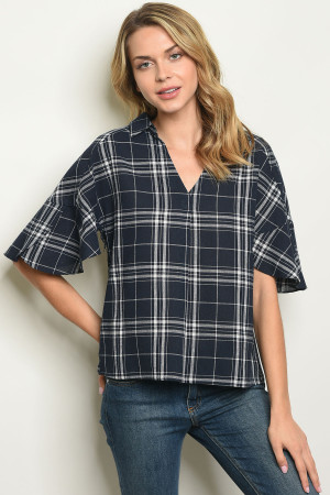 S24-3-4-T14025 NAVY CHECKERED TOP 2-2-2