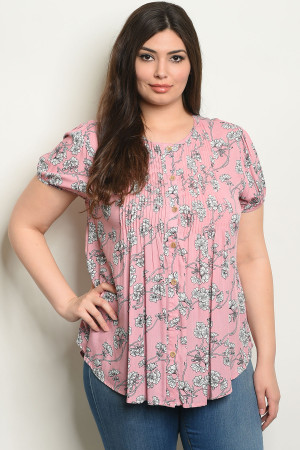 S21-10-6-T59528X PINK FLORAL PLUS SIZE TOP 2-2-2