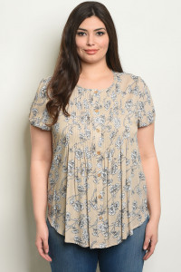 S21-10-6-T59528X TAUPE FLORAL PLUS SIZE TOP 2-2-2