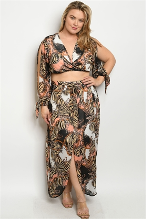 S12-11-2-SET56451X BLACK PEACH PRINT PLUS SIZE TOP & SKIRT SET 2-2-2