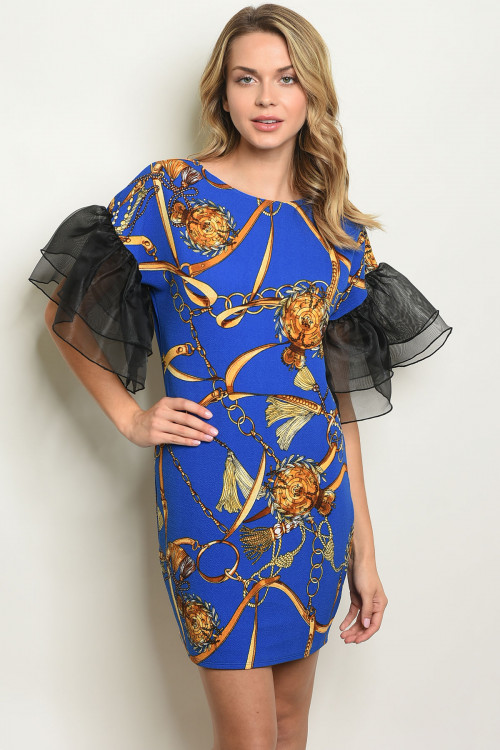 C38-A-2-D90512 ROYAL PRINT DRESS 2-2-2