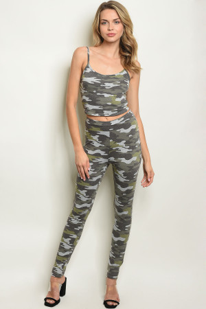 C61-A-2-SET91148 OLIVE CAMOUFLAGE TOP & PANTS SET 2-2-2
