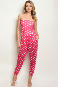 C36-A-2-J3266 FUCHSIA WHITE WITH DOTS JUMPSUIT 2-2-2