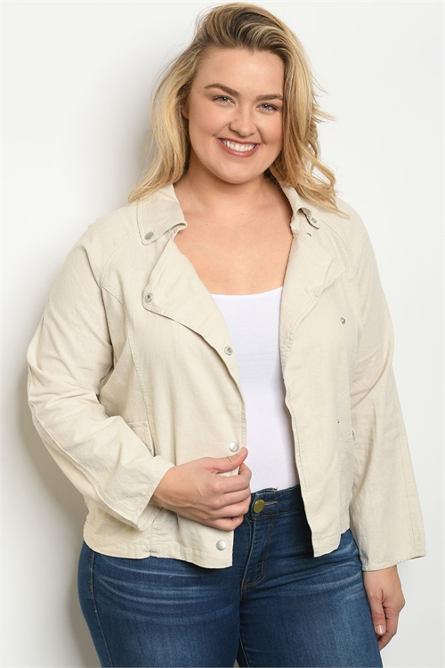 S4-3-1-J1718X KHAKI PLUS SIZE JACKET 2-2-2