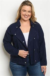 S6-3-2-J1718X NAVY PLUS SIZE JACKET 2-2-2
