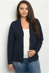 S6-1-4-J1449X NAVY PLUS SIZE JACKET 2-2-2