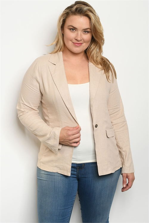 S6-1-4-J1449X KHAKI PLUS SIZE JACKET 2-2-2