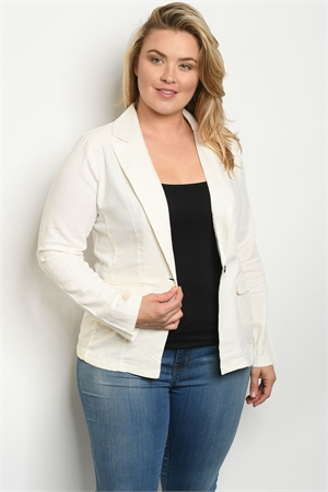 S6-3-2-J1449X OFF WHITE PLUS SIZE JACKET 2-2-2