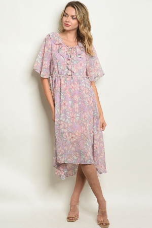 S21-11-6-D42746 LAVENDER FLORAL DRESS 2-2-2