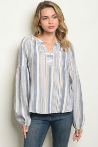 S12-3-2-T24392 NAVY STRIPES TOP 2-2-2