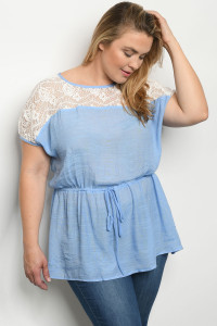 S2-4-3-T2177X BLUE WHITE PLUS SIZE TOP 1-2-2-2