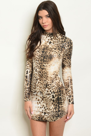 C97-A-5-D91585 BROWN ANIMAL LEOPARD PRINT DRESS 2-2-2