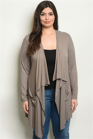 S6-3-1-C2949X BROWN PLUS SIZE CARDIGAN 2-2-2
