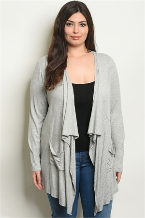 S6-3-1-C2949X GRAY PLUS SIZE CARDIGAN 2-2-2