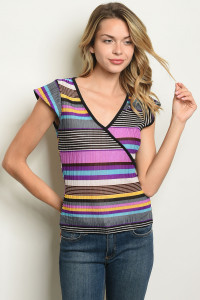 C45-B-5-T3809 PURPLE YELLOW STRIPES TOP 2-2-2