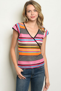 C43-B-7-T3809 FUCHSIA BLUE STRIPES TOP 2-2-2