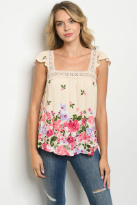 S10-2-2-T3551 NATURAL WITH FLOWER PRINT TOP 2-2-2