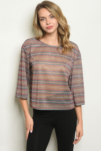 S16-4-1-T2412 MULTI COLOR STRIPES TOP 2-2-2  ***WARNING: California Proposition 65***