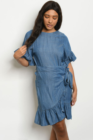 S22-11-2-D1669 BLUE DENIM DRESS 2-2-2