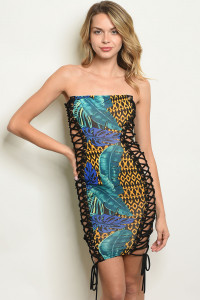 C86-A-5-D50668 BLACK TEAL WITH LEAVES DRESS 3-2-1