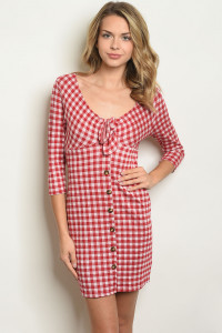 S22-9-1-D2021 RED CHECKERED DRESS 2-2