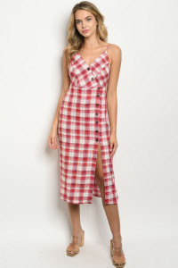 S24-1-5-D13949 RED CHECKERED DRESS 3-2-1