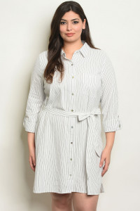 S19-8-4-D7235X WHITE STRIPES PLUS SIZE DRESS 2-2-2-1