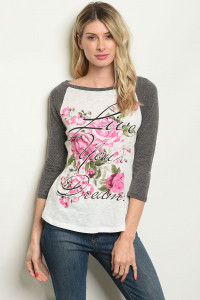 "C1-A-T60226 IVORY CHARCOAL ""LIVE YOU DREAMS"" PRINT TOP 3-3-2"