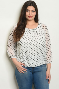 S13-10-5-T9559X WHITE BLACK WITH DOTS PLUS SIZE TOP 2-2-2