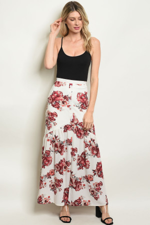 S22-13-5-S3422 IVORY WITH FLOWER PRINT SKIRT 1-2-2-1