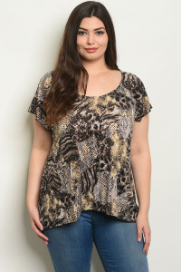 S15-12-6-T4399X BLACK ANIMAL PRINT PLUS SIZE TOP 2-2-2
