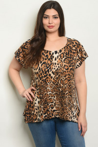 S15-12-6-T4399X BROWN LEOPARD PRINT PLUS SIZE TOP 2-2-2