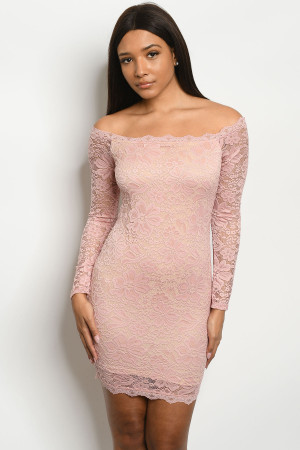 C97-A-4-D31386 BLUSH NUDE LACE DRESS 2-2-2