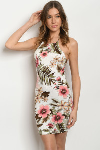 C83-A-3-D31572 IVORY WITH FLOWER PRINT DRESS 2-2-1