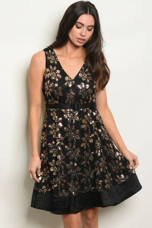 S5-2-3-D24552 BLACK GOLD WITH SEQUINS DRESS 2-2-2