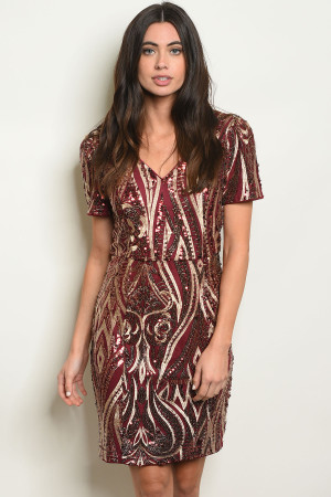S4-2-1-D24473 BURGUNDY GOLD WITH SEQUINS DRESS 2-2-2