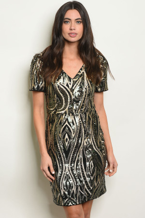 S4-2-1-D24473 BLACK GOLD WITH SEQUINS DRESS 2-2-2