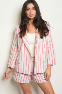 S9-2-1-SET16637 RED STRIPES BLAZER & SHORT SET 3-2-1
