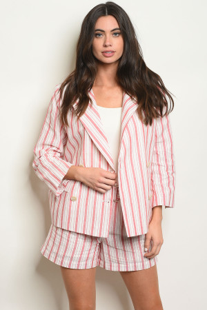 S9-19-1-J16637 RED STRIPES BLAZER 3-2-1  ***SHORT NOT INCLUDED***