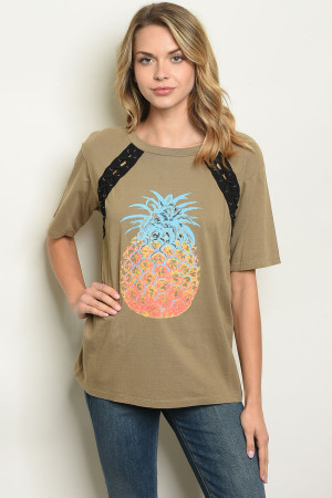 S10-11-4-T6895 OLIVE WITH PINEAPPLE PRINT TOP 2-2-2
